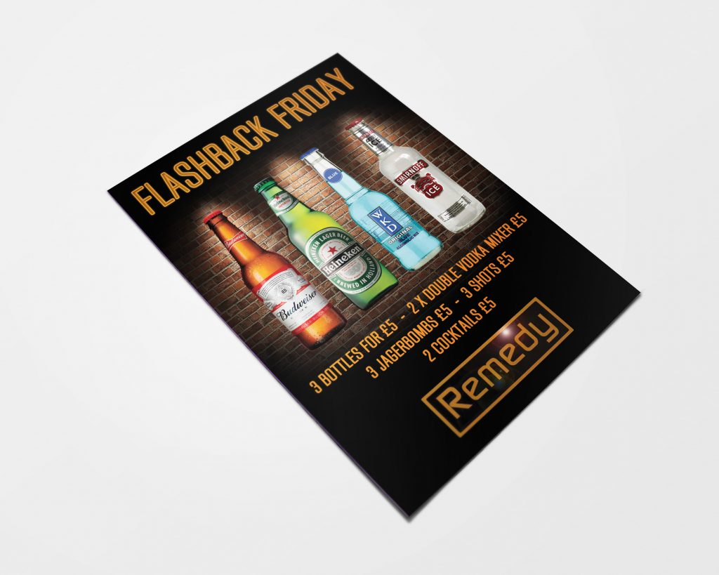 Online design and printing service free delivery perfecto print uk remedy gin bar flyer designed by perfecto print uk reheart