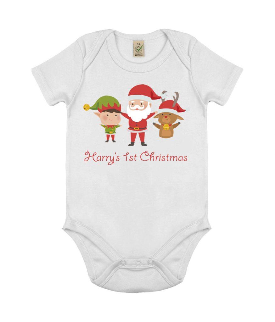 542f75dec Personalised First Christmas Baby Grow Onesie - Perfecto Print UK